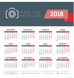 Calendar for 2018 year design stationery template vector