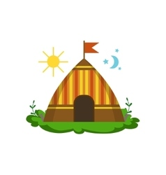 Camping wigwam in forest vector