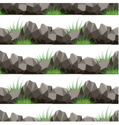 Cartoon grass and stones seamless pattern vector