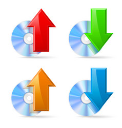 Cd dvd disc icons upload and download on white vector