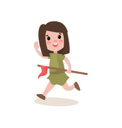 Cheerful scout girl running waving her hand and vector