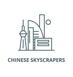 chinese skyscrapers line icon linear vector image