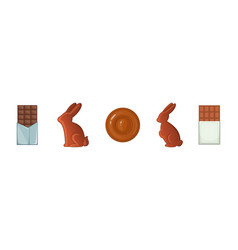 chocolate icon set cartoon style vector image