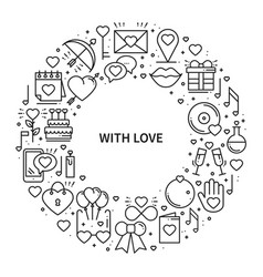 Circle frame with love symbols in line style love vector