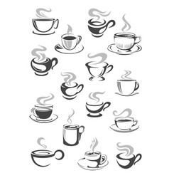 Coffee cup and tea mug icon set for drink design vector