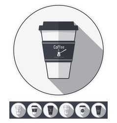 coffee paper cups set coffee to go flat icons vector image