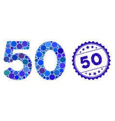 Collage 50 digits text icon with grunge 50 seal vector