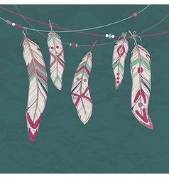 colorful set ethnic decorative feathers hanging vector image
