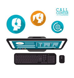 computer call center service icons vector image
