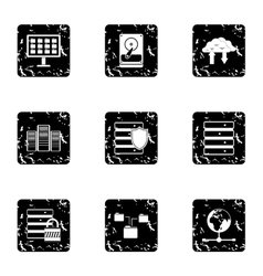 Computer protection icons set grunge style vector