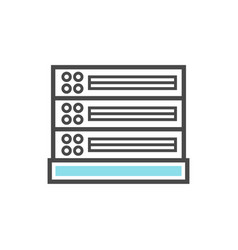 Computer server isolated linear icon vector