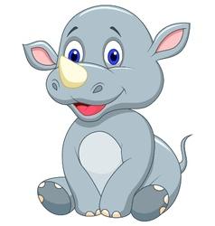 Cute baby rhino cartoon vector