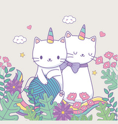 Cute caticorns with floral decoration and ball vector