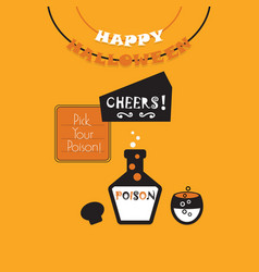 Cute happy halloween banner and poison cheers card vector