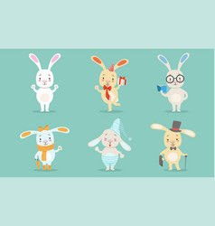 cute little bunnies characters set adorable vector image