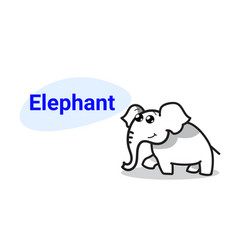 cute little elephant cartoon comic character vector image