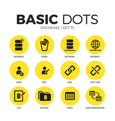 Database flat icons set vector