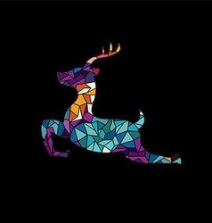 deer colorful mosaic pattern vector image