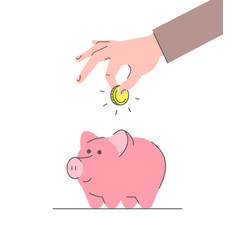 Donation concept with cute pink piggy bank vector