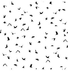 Doves and pigeons silhouette seamless pattern on vector image