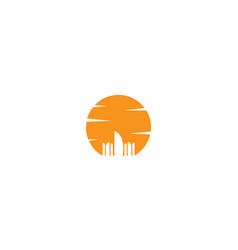 Dubai city on sunset silhouette logo design icon vector