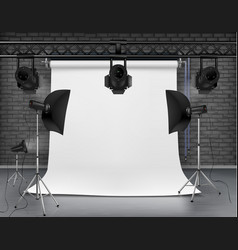 empty photo studio with lighting equipment vector image