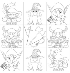 Fantasy heroes set avatar contour vector image