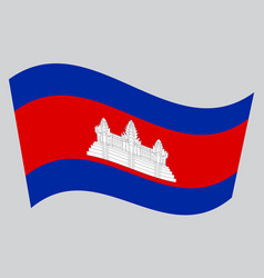 Flag of cambodia waving on gray background vector