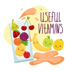 Fruit in a glass vitamins vector