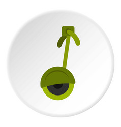 Green electrical self balancing scooter icon vector