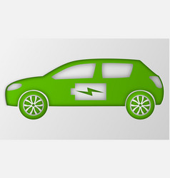 Green hybrid origami car paper art electric vector