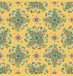 green pink mandala pattern floral on yellow tile vector image