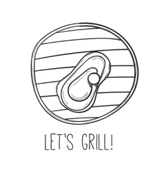 Grill with meat steak on vector