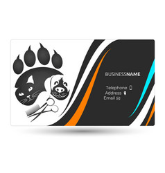 Grooming cats and dogs business card vector