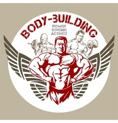 Gym bodybuilding - emblem vector