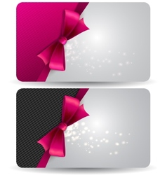 Holiday gift card with pink ribbons and bow vector