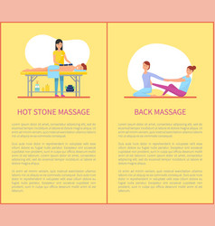 hot stone back massages treatment posters vector image