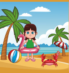 kid and beach cute cartoons vector image