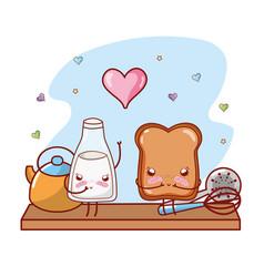 Kitchen shelf cartoon kawaii cartoon vector