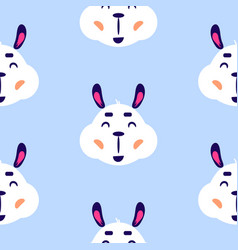 lama cute smiling childish blue seamless vector image