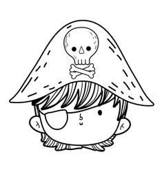 Little pirate head fairytale character vector