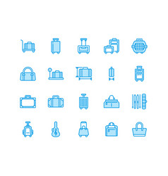 Luggage blue flat line icons carry-on hardside vector