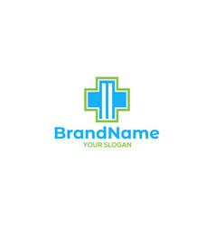 M medical cross logo design vector