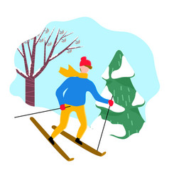 male skiing snowy downhill near spruce vector image
