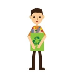 Man recycling plastic bottles Standing and vector image