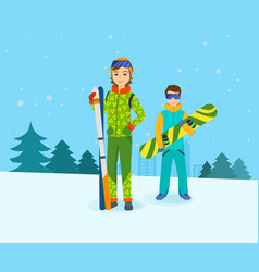 man with snowboard and girl skis on mountain vector image