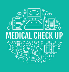Medical check up poster template flat line vector