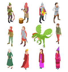 medieval isometric characters knight dragon man vector image