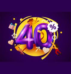 Mega sale 40 percent discount special offer vector