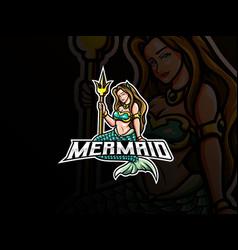 Mermaid mascot esport logo design vector